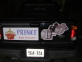 Truck tail gate with custom logo and lettering